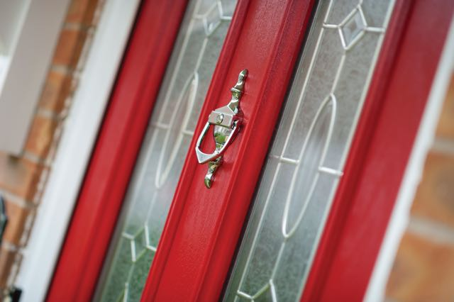 Red door chrome knocker
